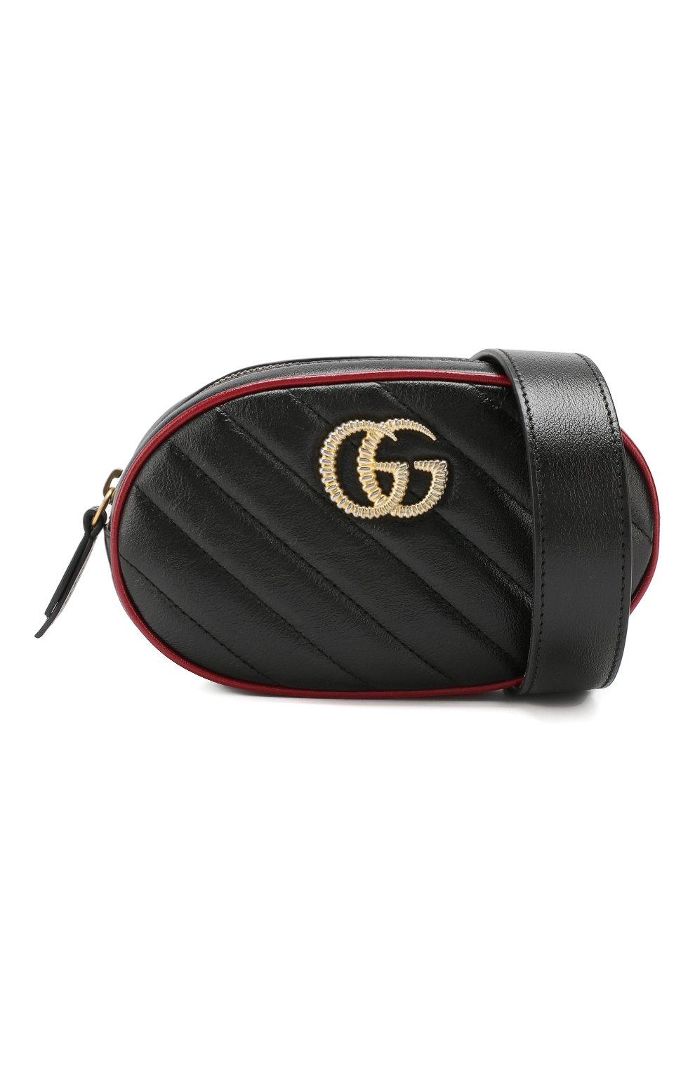Женская поясная сумка gg marmont GUCCI черного цвета, арт. 476434/00LFX | Фото 5