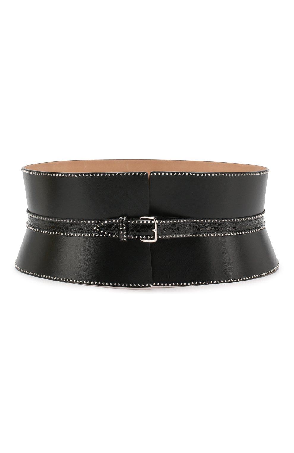 Женский кожаный пояс ALAIA черного цвета, арт. 9W1E082RCJ71 | Фото 1