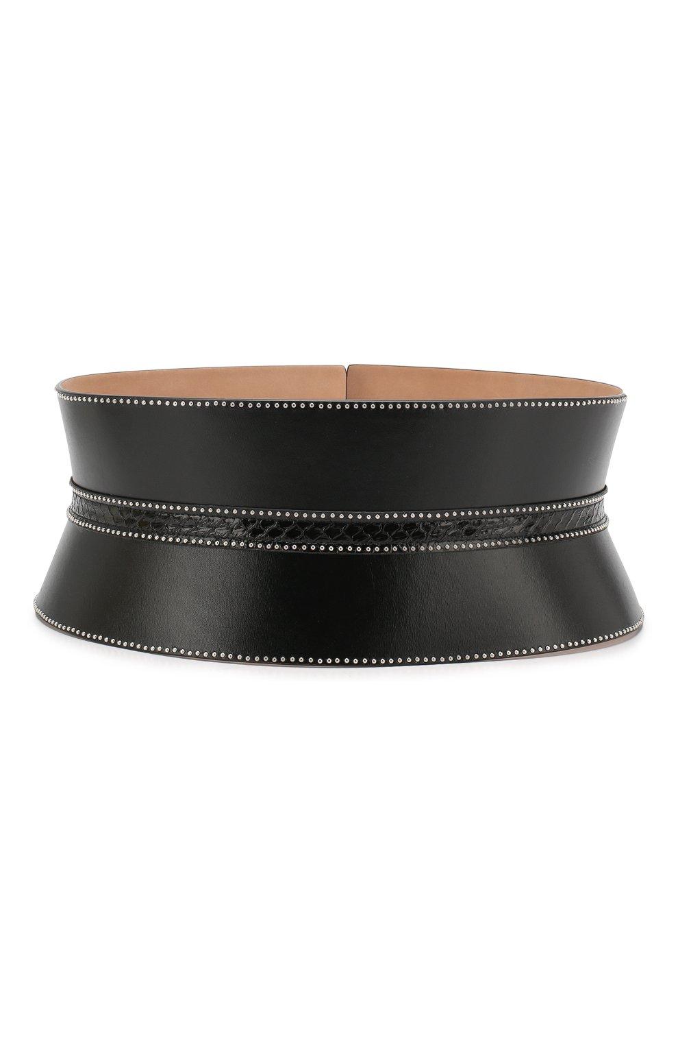 Женский кожаный пояс ALAIA черного цвета, арт. 9W1E082RCJ71 | Фото 2