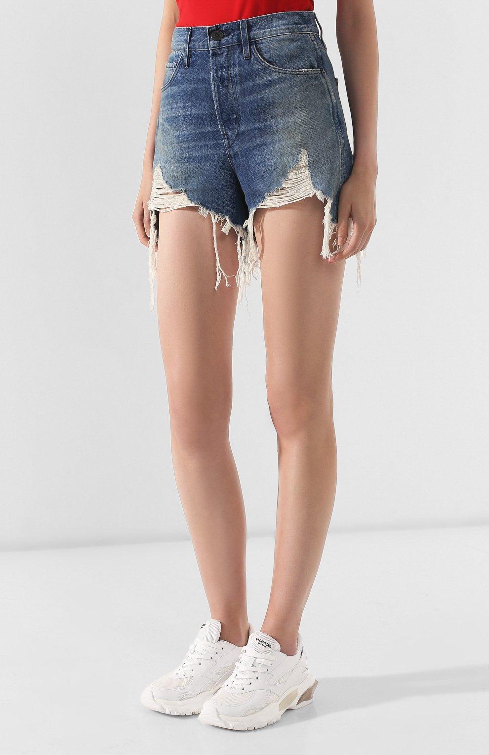 Женские джинсовые шорты 3X1 голубого цвета, арт. WSX4S0866/FIN0LA   Фото 3