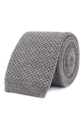 Мужской шерстяной галстук BOSS светло-серого цвета, арт. 50418957 | Фото 1