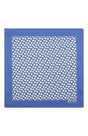 Мужской шелковый платок BOSS голубого цвета, арт. 50419510 | Фото 3