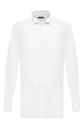 Мужская хлопковая сорочка TOM FORD белого цвета, арт. 6FT000/94C8CR | Фото 1