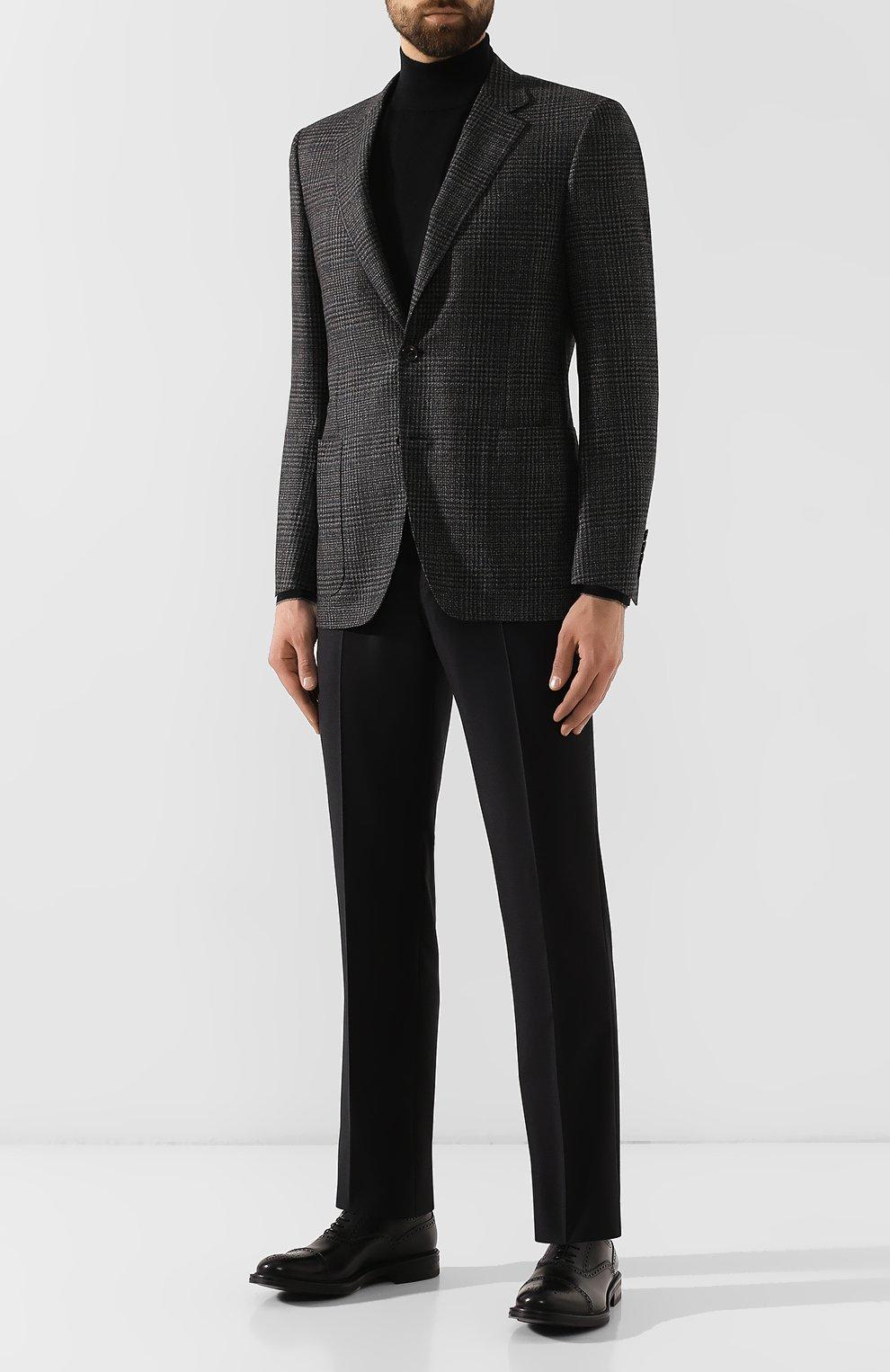 Мужские шерстяные брюки ERMENEGILDO ZEGNA черного цвета, арт. 613F02/75SB12   Фото 2