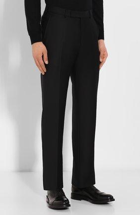 Мужские шерстяные брюки ERMENEGILDO ZEGNA черного цвета, арт. 613F02/75SB12   Фото 3