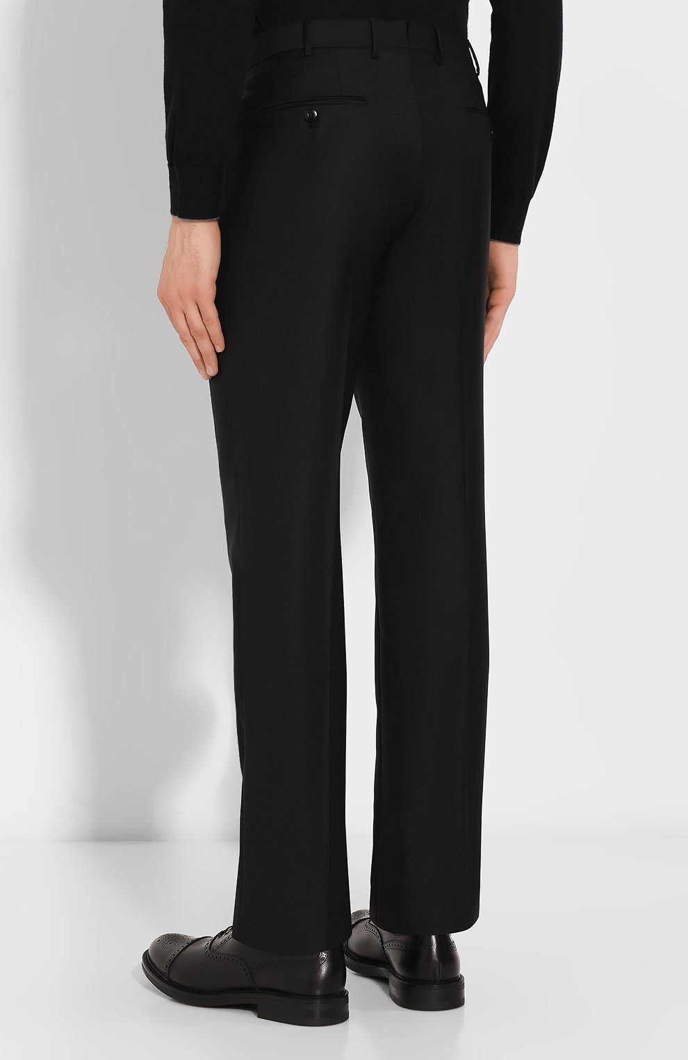 Мужские шерстяные брюки ERMENEGILDO ZEGNA черного цвета, арт. 613F02/75SB12   Фото 4