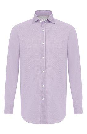 Мужская хлопковая сорочка BRUNELLO CUCINELLI сиреневого цвета, арт. MN6430028 | Фото 1