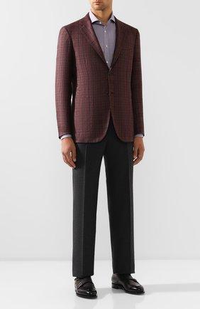 Мужская хлопковая сорочка BRUNELLO CUCINELLI сиреневого цвета, арт. MN6430028 | Фото 2