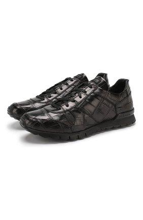 Мужские кроссовки из кожи крокодила KITON темно-коричневого цвета, арт. USSVLAXN00102/CNIL | Фото 1