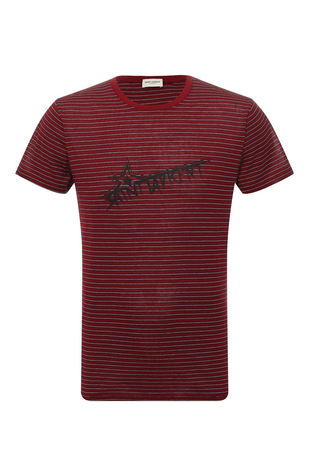 Мужская хлопковая футболка SAINT LAURENT бордового цвета, арт. 579056/YBIW2   Фото 1