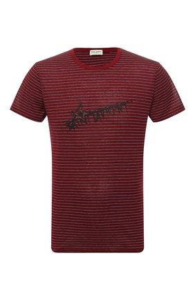 Мужская хлопковая футболка SAINT LAURENT бордового цвета, арт. 579056/YBIW2 | Фото 1