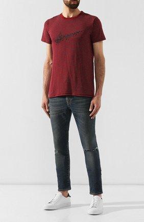 Мужская хлопковая футболка SAINT LAURENT бордового цвета, арт. 579056/YBIW2 | Фото 2