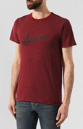 Мужская хлопковая футболка SAINT LAURENT бордового цвета, арт. 579056/YBIW2   Фото 3