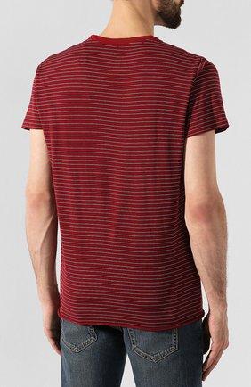 Мужская хлопковая футболка SAINT LAURENT бордового цвета, арт. 579056/YBIW2   Фото 4