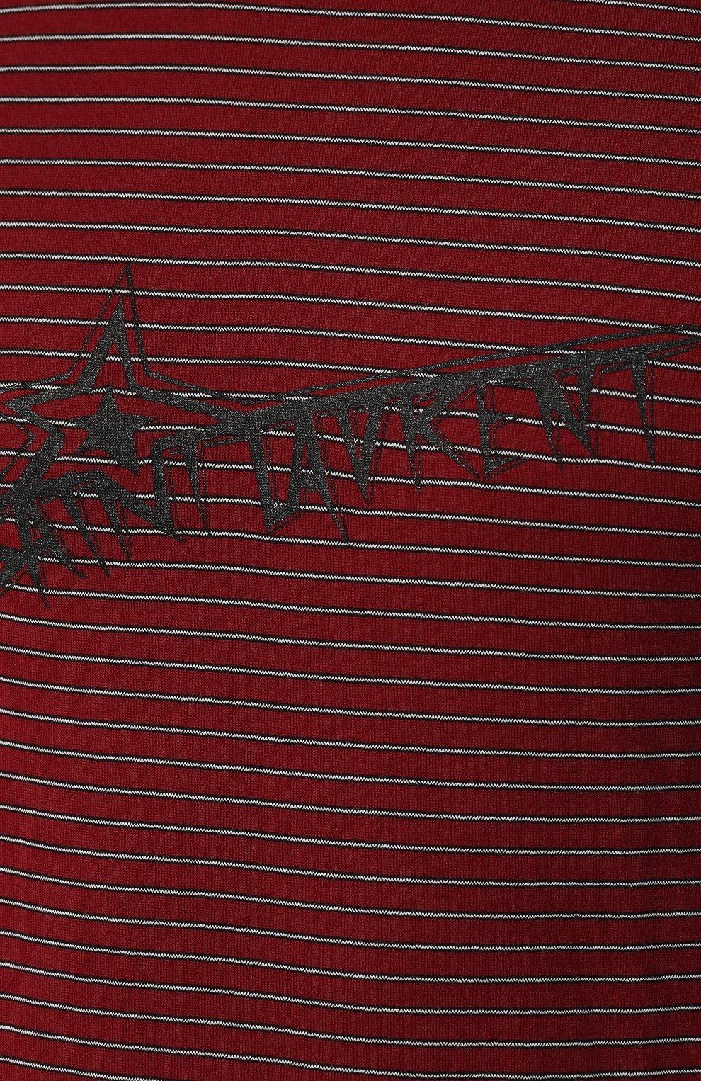 Мужская хлопковая футболка SAINT LAURENT бордового цвета, арт. 579056/YBIW2   Фото 5