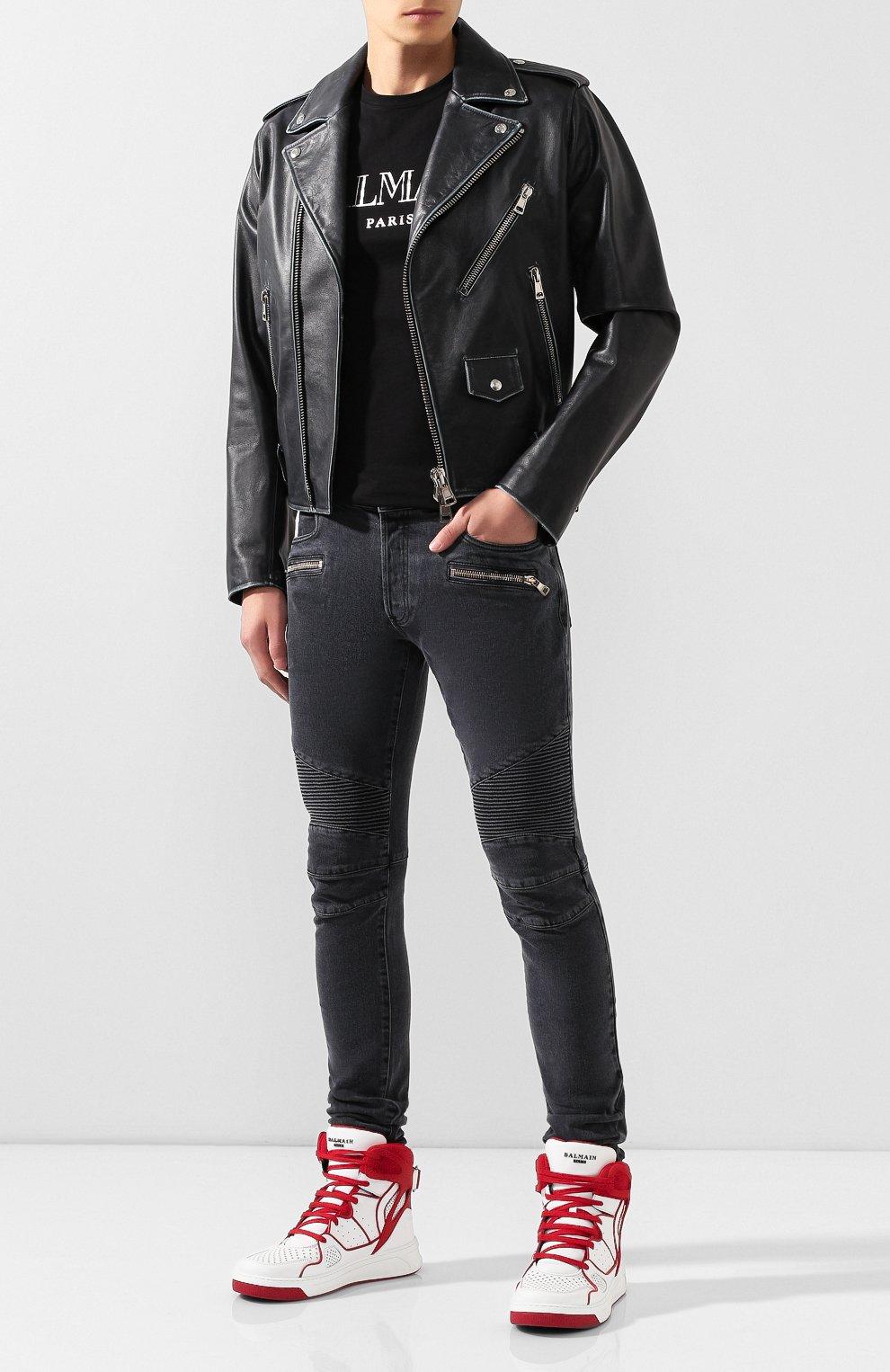 Мужская хлопковая футболка BALMAIN черного цвета, арт. SH11601/I312 | Фото 2