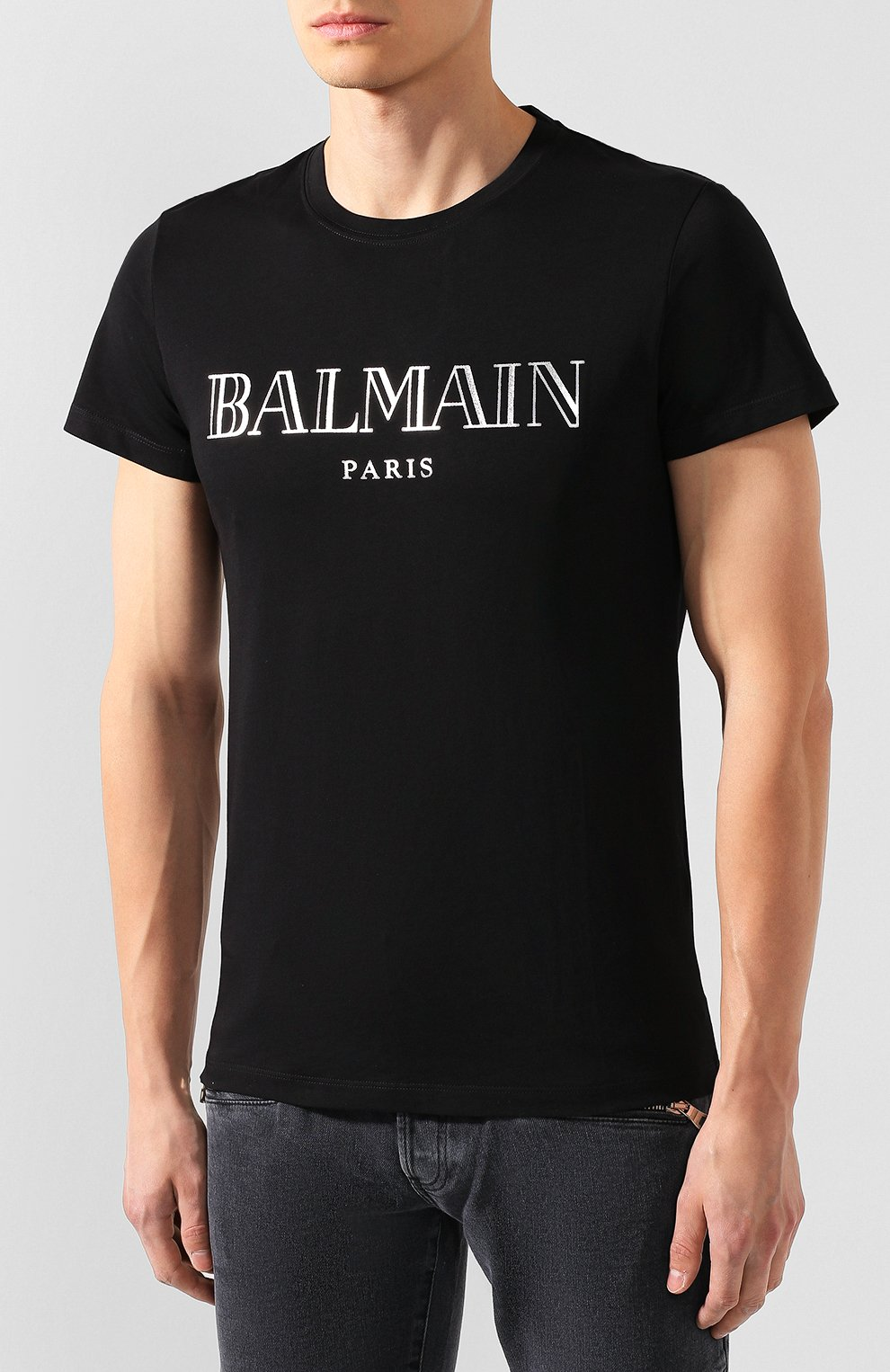 Мужская хлопковая футболка BALMAIN черного цвета, арт. SH11601/I312 | Фото 3