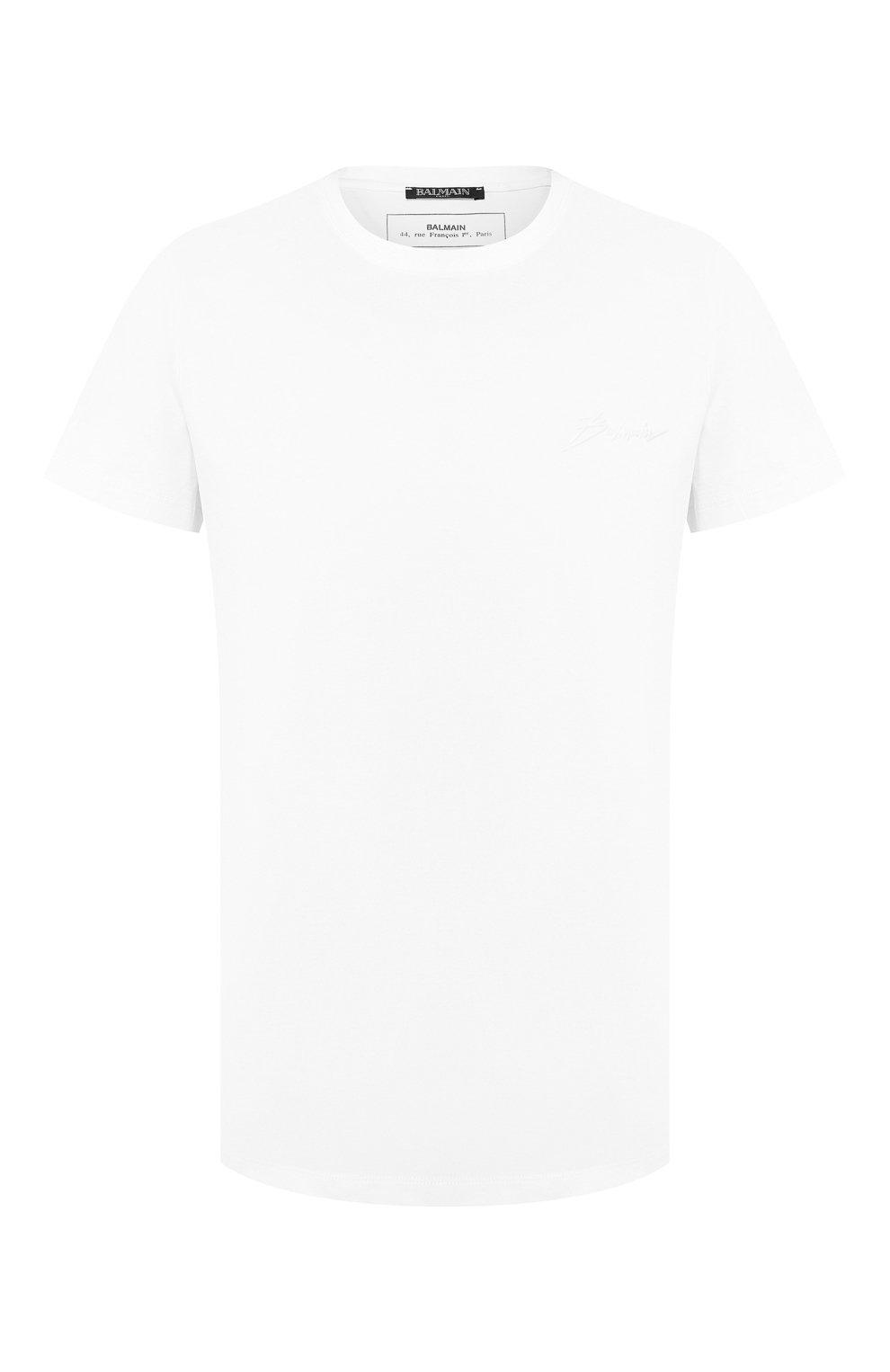 Мужская хлопковая футболка BALMAIN белого цвета, арт. SH11601/I113 | Фото 1