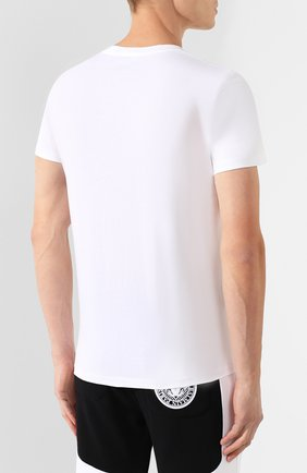 Мужская хлопковая футболка BALMAIN белого цвета, арт. SH11601/I113 | Фото 4