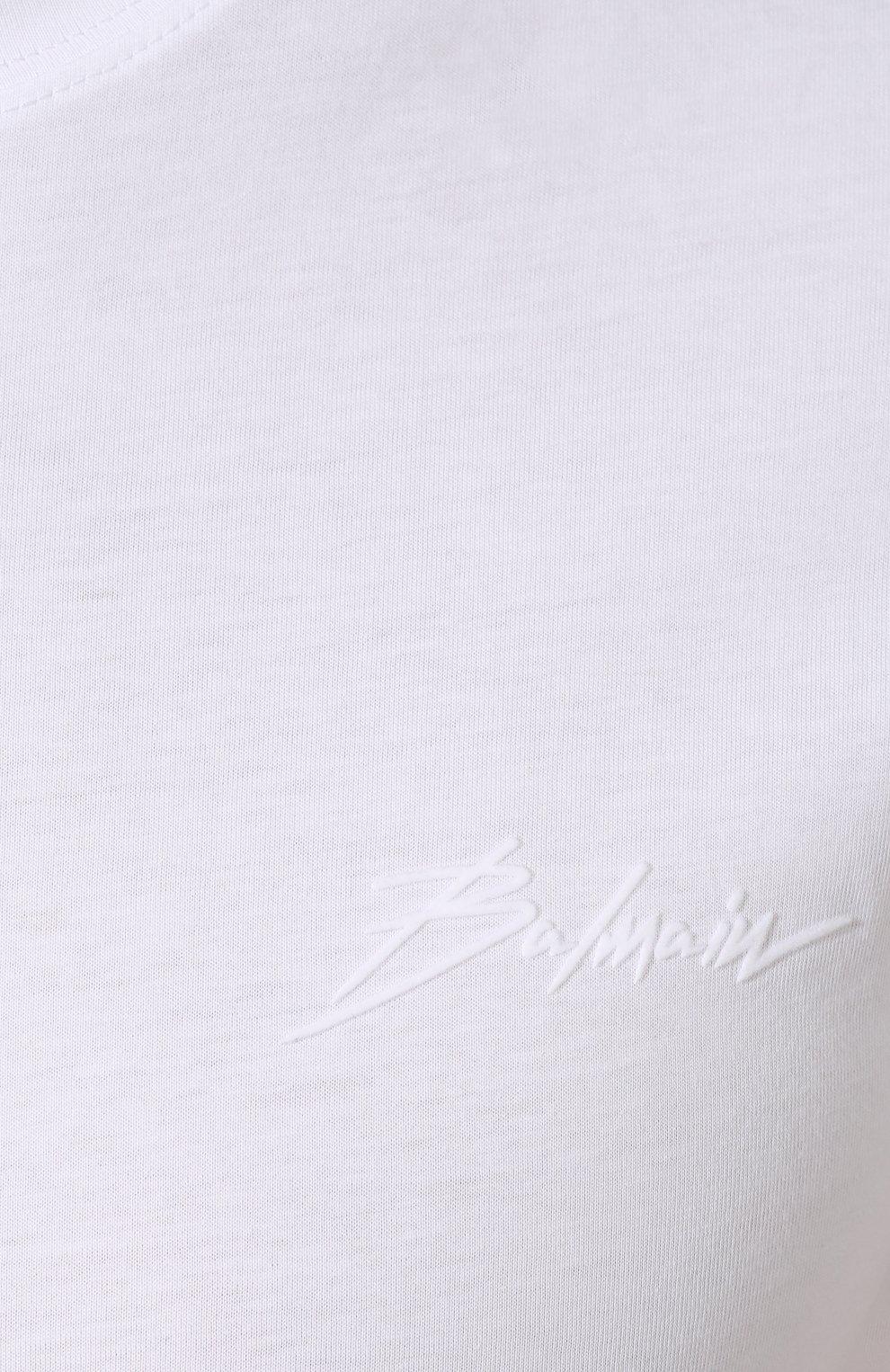 Мужская хлопковая футболка BALMAIN белого цвета, арт. SH11601/I113 | Фото 5