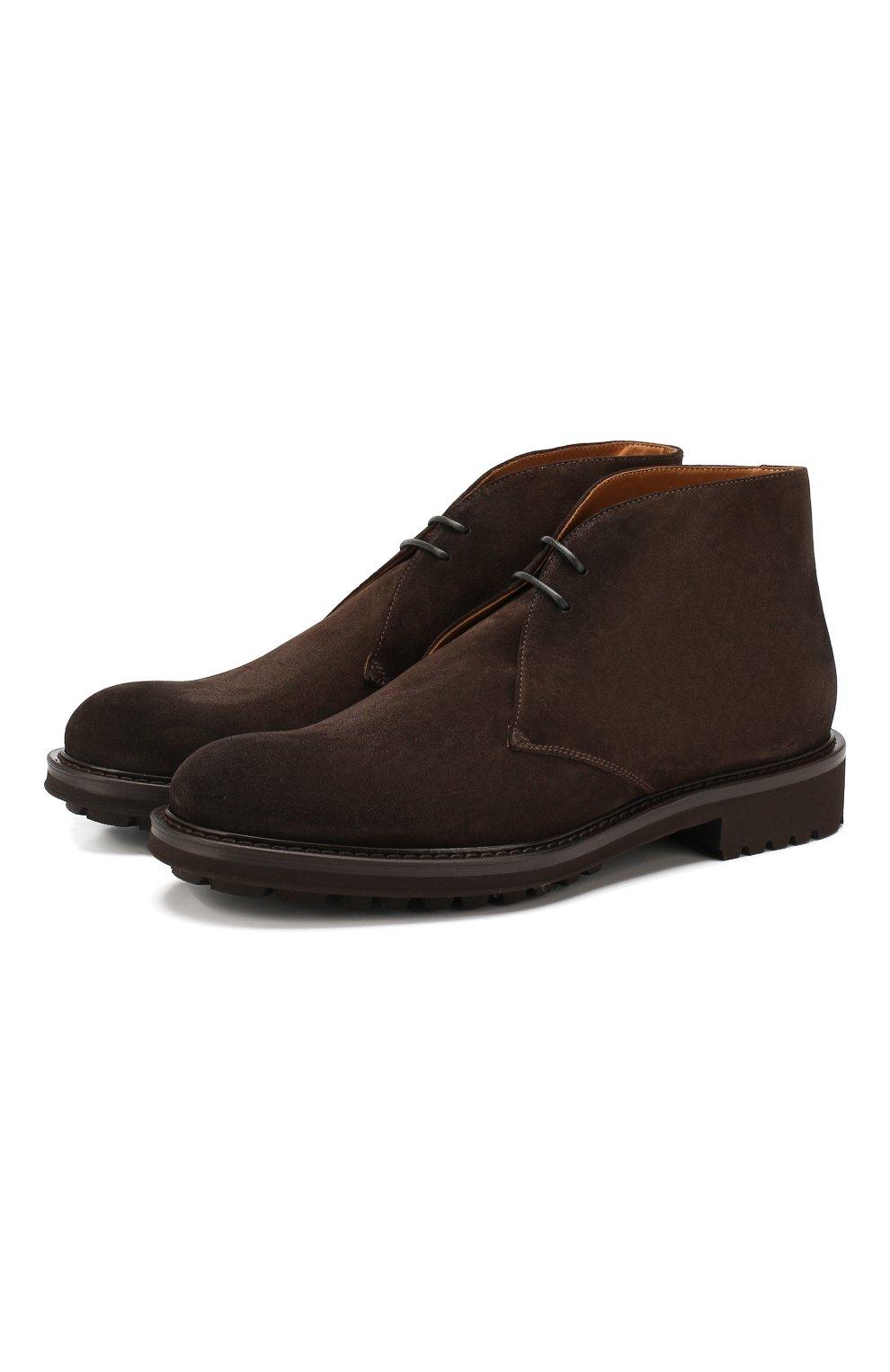 Мужские замшевые ботинки DOUCAL'S темно-коричневого цвета, арт. DU12470TTAUF024TM00   Фото 1