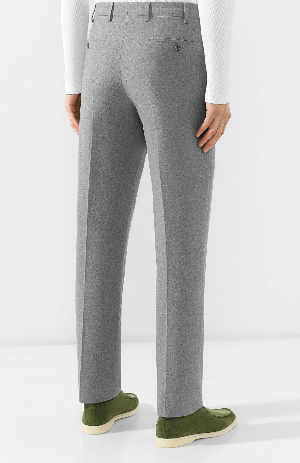 Мужские хлопковые брюки LORO PIANA серого цвета, арт. FAG4236 | Фото 4