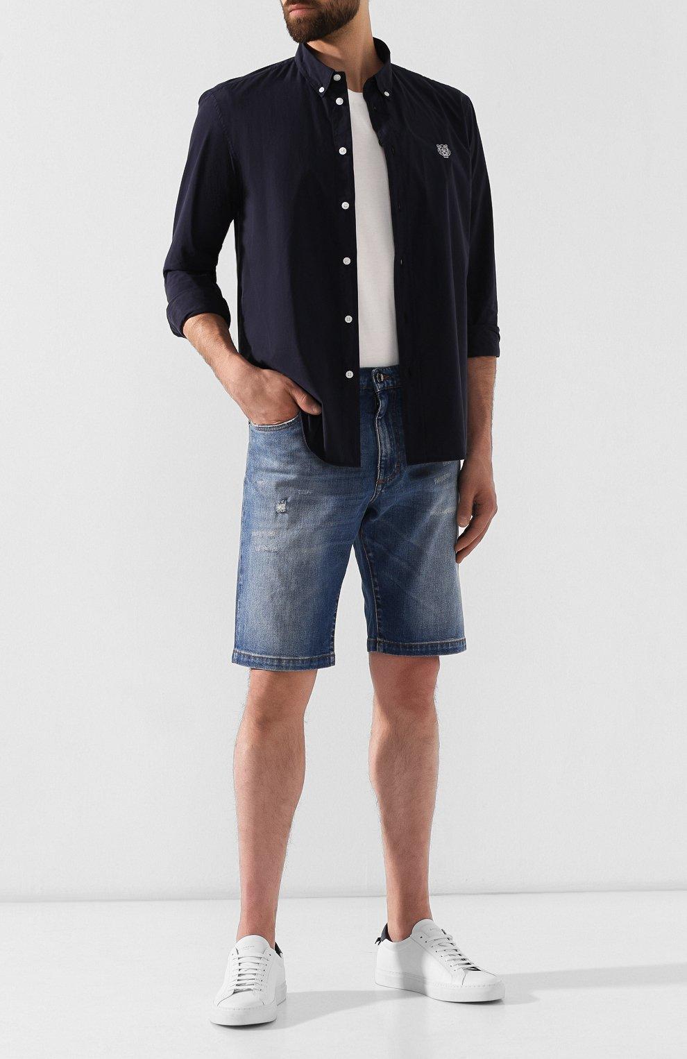 Мужская хлопковая рубашка KENZO темно-синего цвета, арт. F965CH4001LA | Фото 2