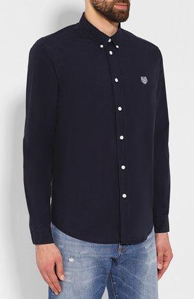 Мужская хлопковая рубашка KENZO темно-синего цвета, арт. F965CH4001LA | Фото 3