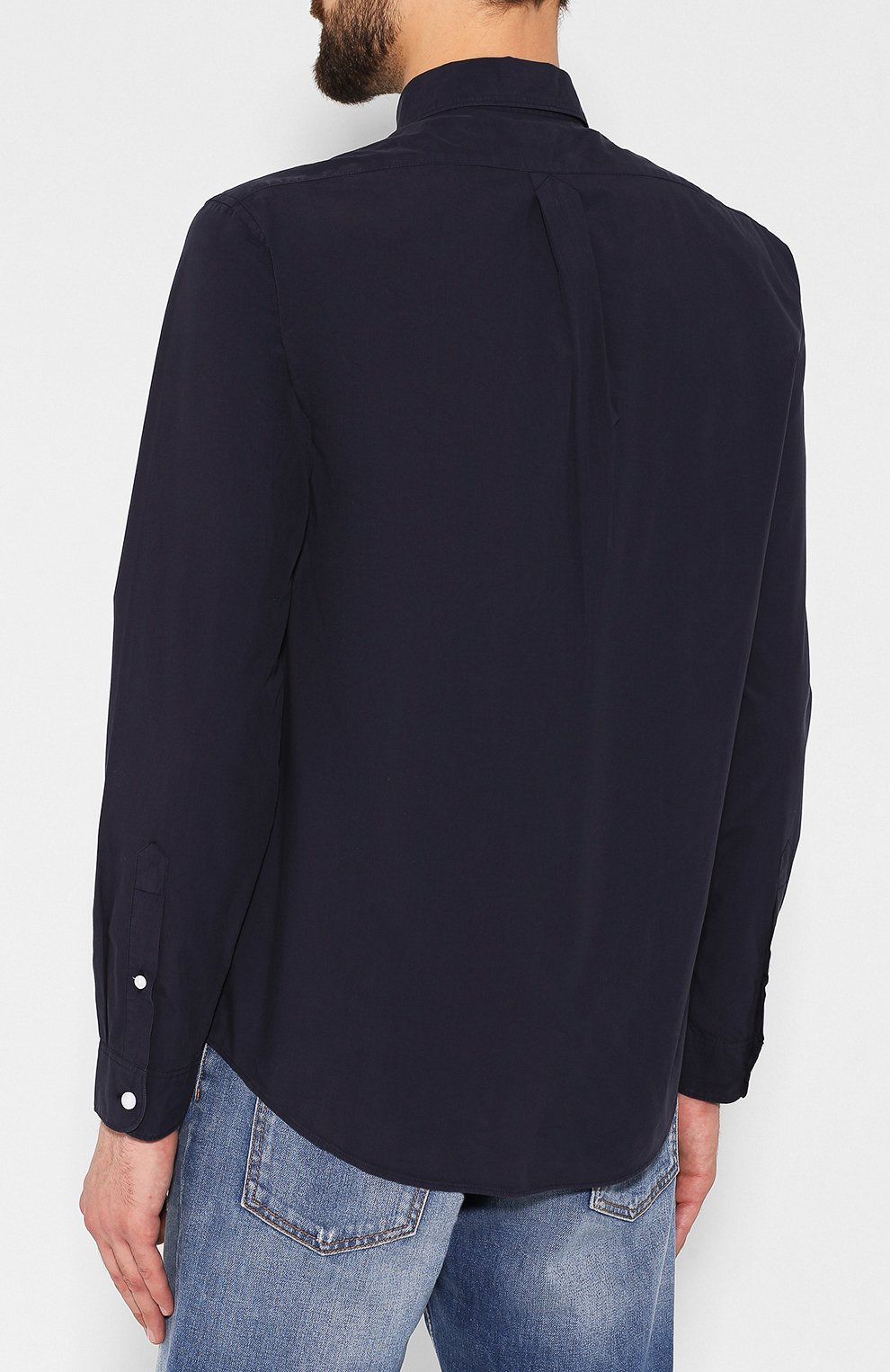 Мужская хлопковая рубашка KENZO темно-синего цвета, арт. F965CH4001LA | Фото 4