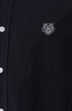 Мужская хлопковая рубашка KENZO темно-синего цвета, арт. F965CH4001LA | Фото 5