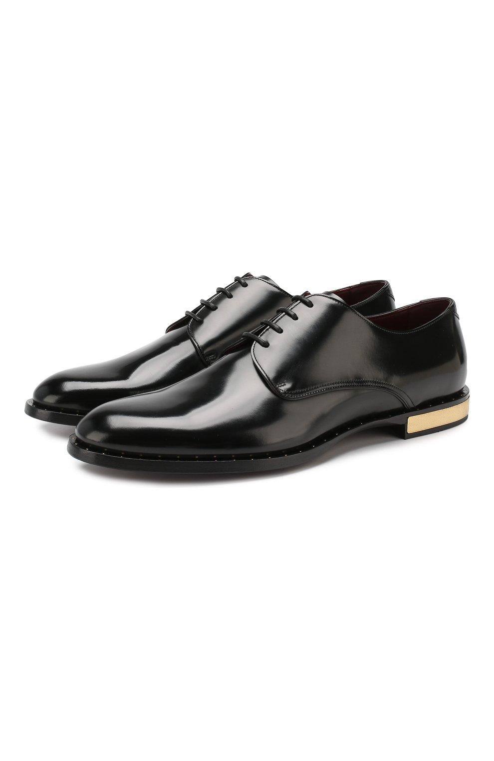 Мужские кожаные дерби DOLCE & GABBANA черного цвета, арт. A10483/A1203 | Фото 1