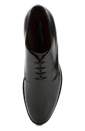 Мужские кожаные дерби DOLCE & GABBANA черного цвета, арт. A10483/A1203 | Фото 5