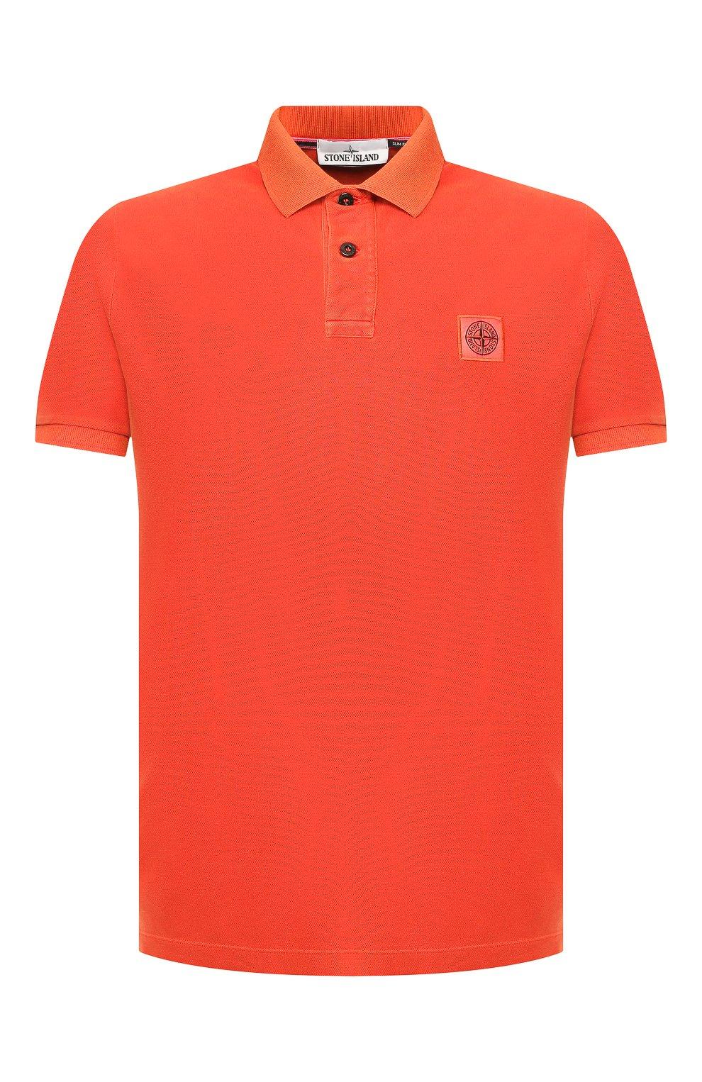 Мужское хлопковое поло STONE ISLAND оранжевого цвета, арт. 711522S67 | Фото 1