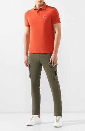 Мужское хлопковое поло STONE ISLAND оранжевого цвета, арт. 711522S67 | Фото 2