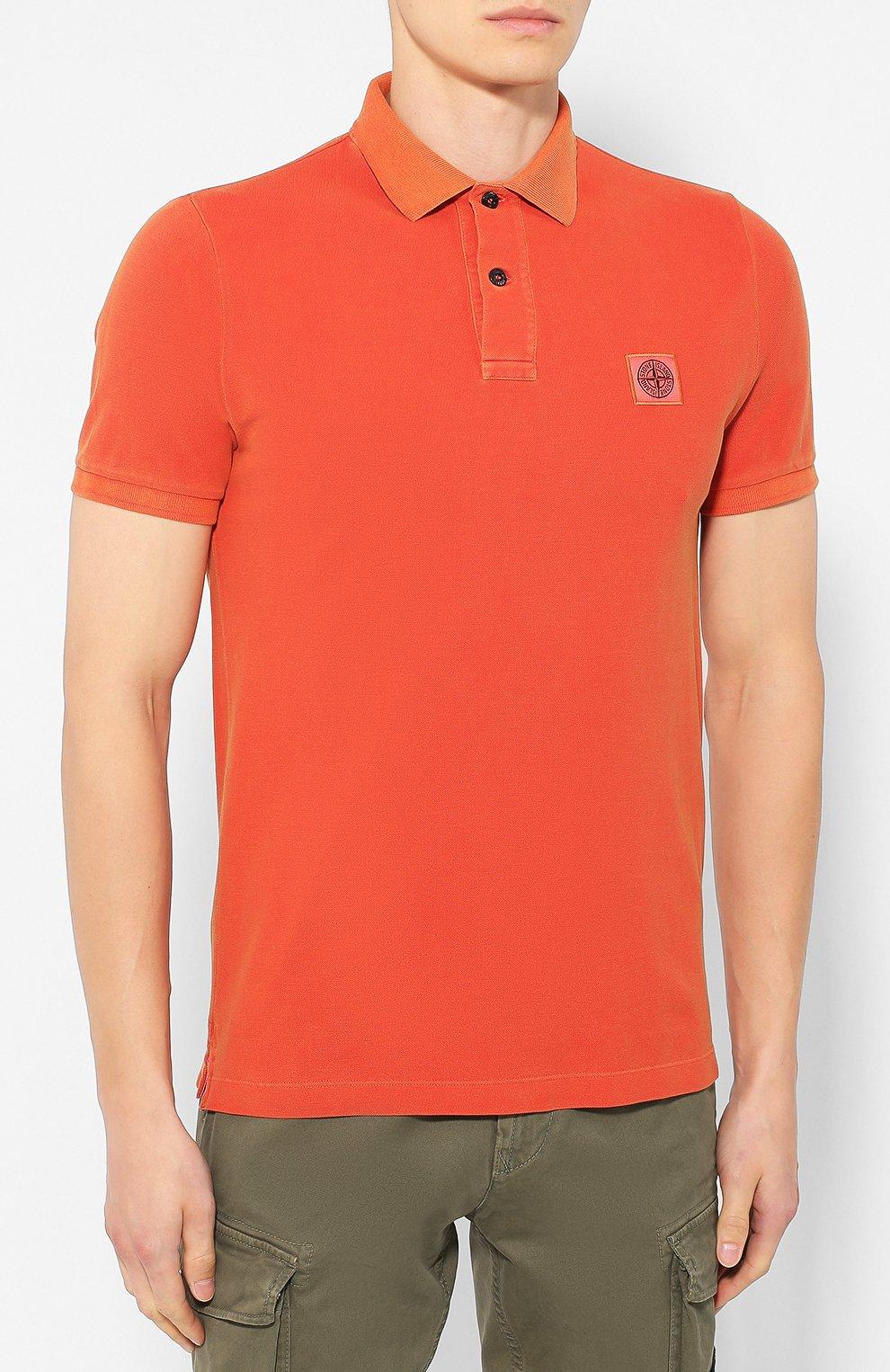 Мужское хлопковое поло STONE ISLAND оранжевого цвета, арт. 711522S67 | Фото 3