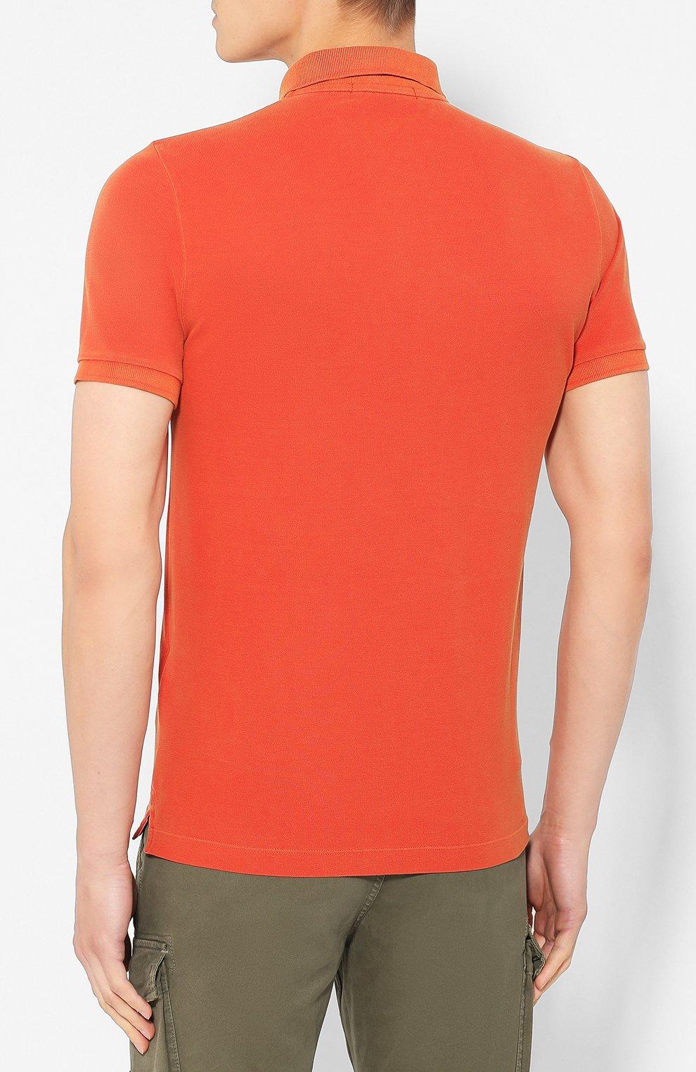 Мужское хлопковое поло STONE ISLAND оранжевого цвета, арт. 711522S67 | Фото 4