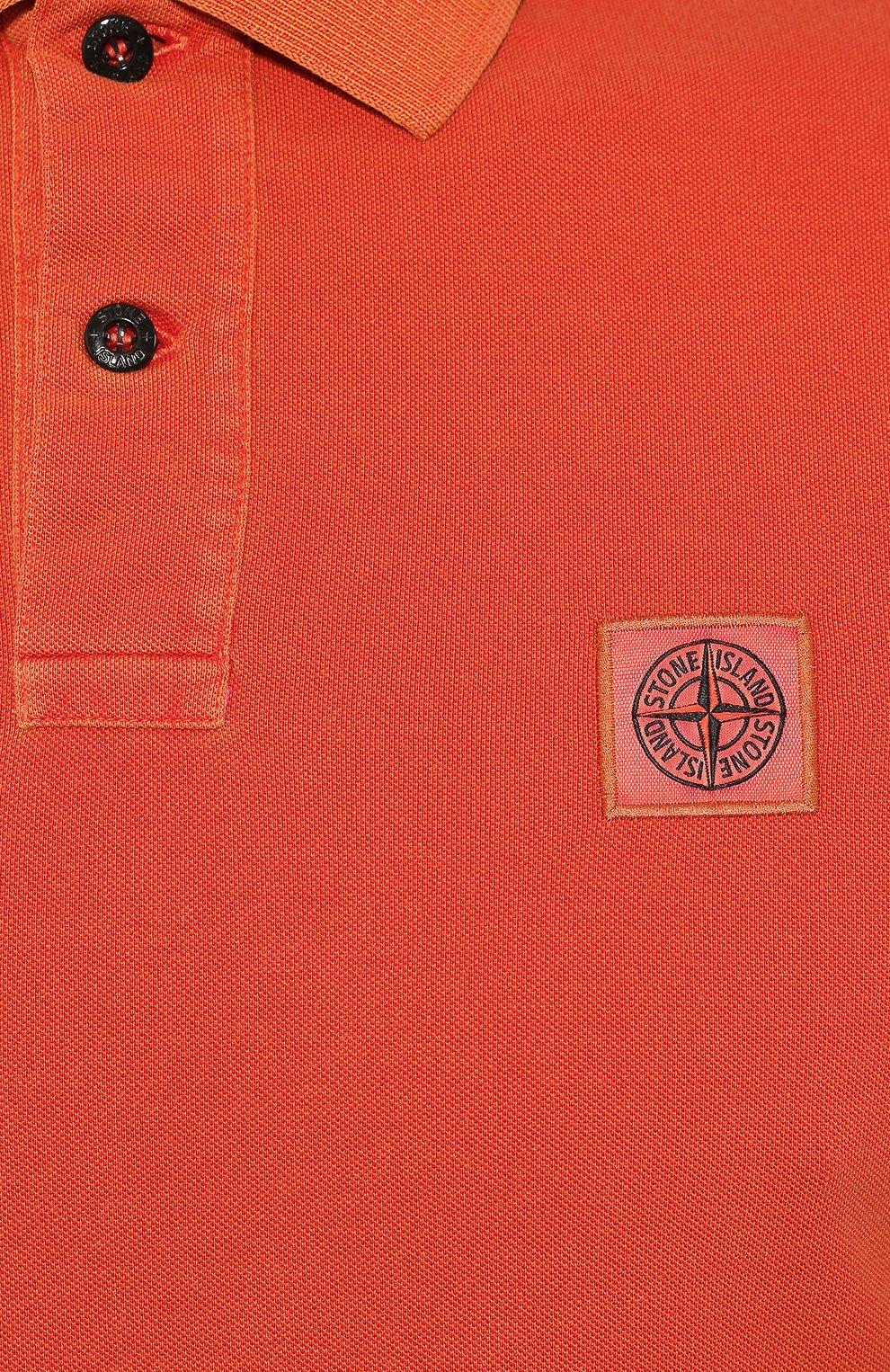 Мужское хлопковое поло STONE ISLAND оранжевого цвета, арт. 711522S67 | Фото 5
