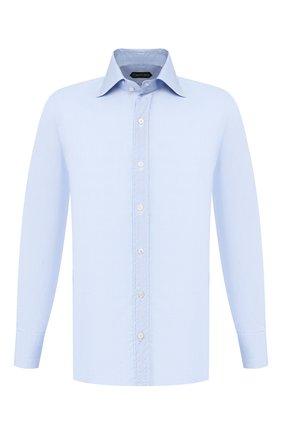Мужская хлопковая сорочка TOM FORD голубого цвета, арт. 6FT788/94S1IG | Фото 1