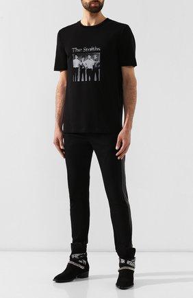 Мужская хлопковая футболка SAINT LAURENT черного цвета, арт. 588103/YBHI2 | Фото 2