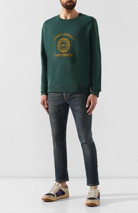 Мужской хлопковый свитшот SAINT LAURENT темно-зеленого цвета, арт. 582201/YBKI2 | Фото 2
