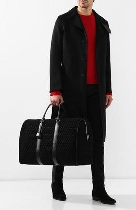 Мужская кожаная дорожная сумка SAINT LAURENT черного цвета, арт. 582141/09W3W   Фото 2 (Материал: Натуральная кожа; Ремень/цепочка: На ремешке; Статус проверки: Проверено, Проверена категория)