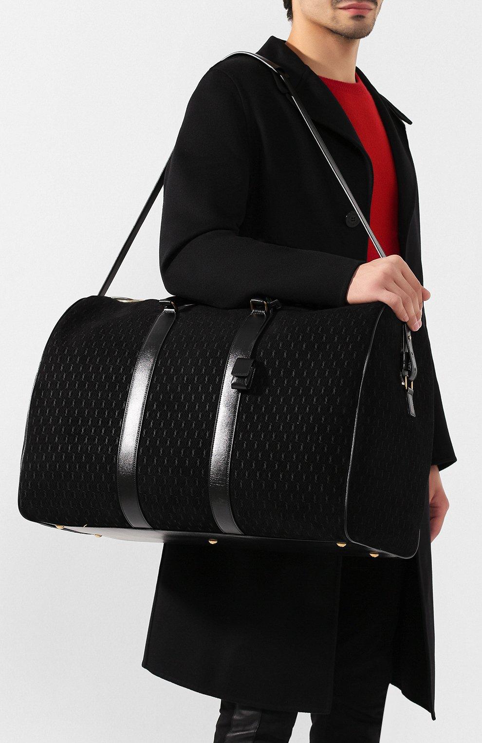 Мужская кожаная дорожная сумка SAINT LAURENT черного цвета, арт. 582141/09W3W   Фото 5 (Материал: Натуральная кожа; Ремень/цепочка: На ремешке; Статус проверки: Проверено, Проверена категория)
