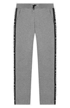 Детские хлопковые брюки GIVENCHY серого цвета, арт. H14061 | Фото 1