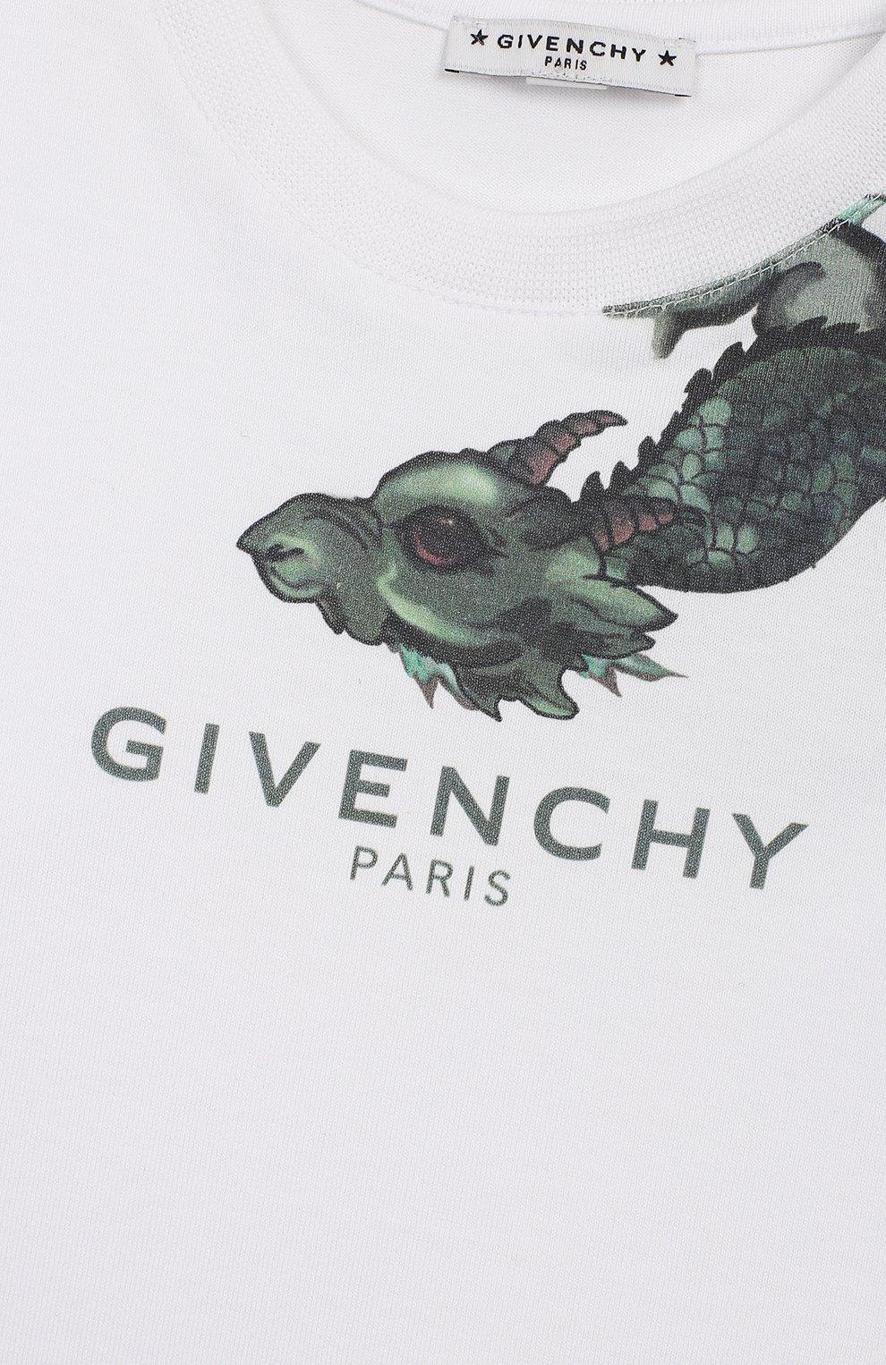 Детский хлопковый лонгслив GIVENCHY белого цвета, арт. H05092 | Фото 3