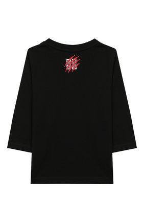 Детский хлопковый лонгслив GIVENCHY черного цвета, арт. H05092 | Фото 2