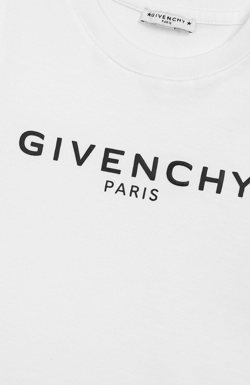 Детский хлопковая футболка GIVENCHY белого цвета, арт. H05091 | Фото 3