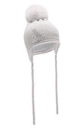 Детского шерстяная шапка с меховым помпоном CATYA светло-серого цвета, арт. 923655/4DJ | Фото 1