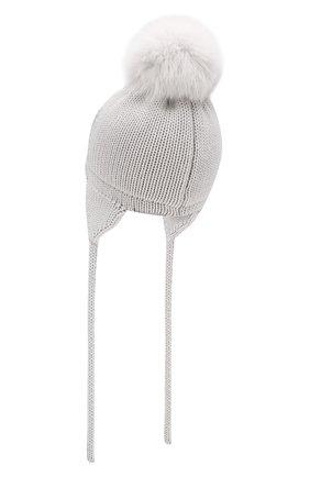 Детского шерстяная шапка с меховым помпоном CATYA светло-серого цвета, арт. 923655/4DJ | Фото 2