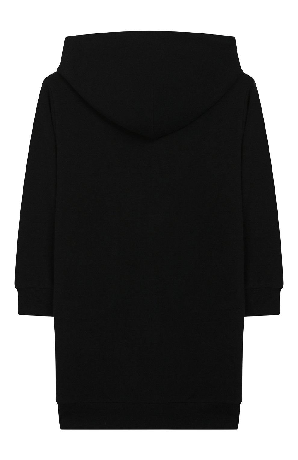 Детское хлопковое платье с капюшоном IL GUFO черного цвета, арт. A19VL326M0019/5А-8А | Фото 2