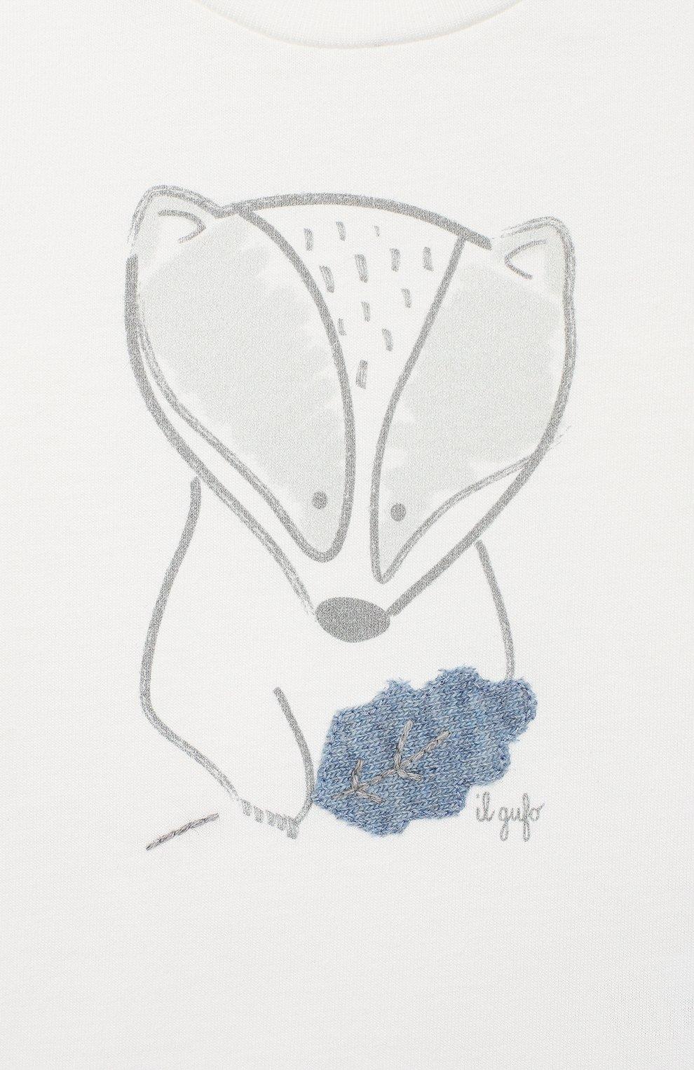 Детский хлопковый лонгслив IL GUFO белого цвета, арт. A19TA201M0094/3М-9М   Фото 3 (Рукава: Длинные; Материал внешний: Хлопок; Статус проверки: Проверено, Проверена категория)